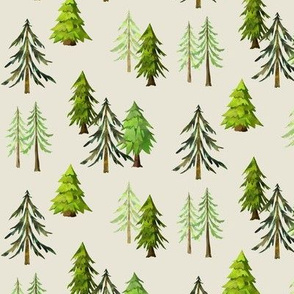 Pine Tree Forest (cream) - Woodland Trees SMALL SCALE