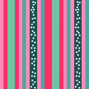 FNB3 - Large Fizz-n-Bubble  Stripes in Pink and Green - Vertical