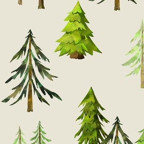 Pine Tree Forest (cream) - Woodland Trees LARGE SCALE