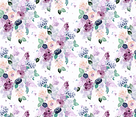 lilac-lavender-romance bouquet fabric by crystal_walen on Spoonflower - custom fabric