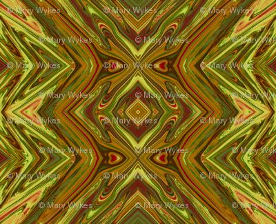 Olive Green  and Mustard Yellow Geometric Pillars