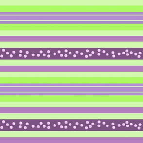 FNB2 - Large Fizz-n-Bubble Stripes in Lime Green and Purple  - Crosswise