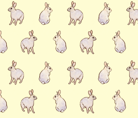 Wild Rabbits - Buttercup [Large] fabric by elisabethnoel on Spoonflower - custom fabric