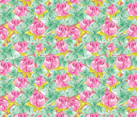 Roses and Mint fabric by cathleenbronsky on Spoonflower - custom fabric