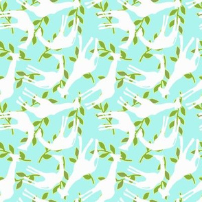 Baby Giraffes and Leaves Background