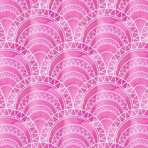 Art Deco Fan in Pink Watercolour Abstract