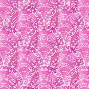 Art Deco Fan in Pink Watercolour Abstract