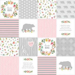 Bear Cheater Quilt Top - Patchwork Woodland Wholecloth Baby Blanket Fabric, Pink & Gray