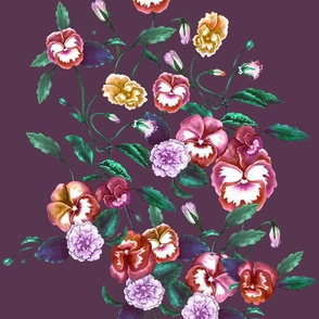 Pansies and Peonies, Plum