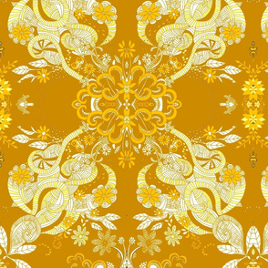 victorian gold large intricate  floral