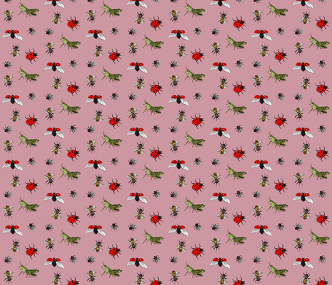 Insect repeat pink fabric by coppercatkin on Spoonflower - custom fabric