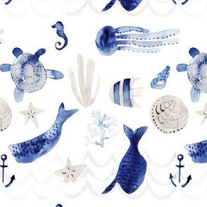 mermaid under the sea-watercolor