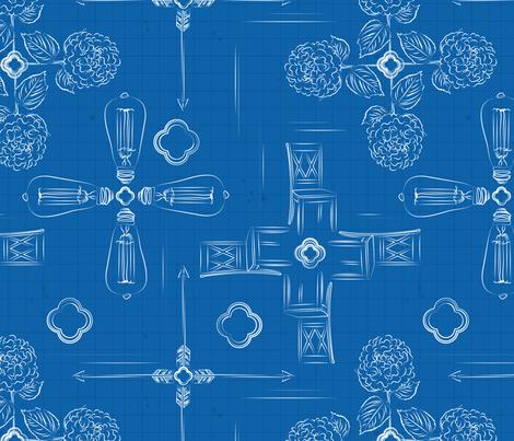 Farmhouse Decor Blueprints fabric by yourfriendamy on Spoonflower - custom fabric