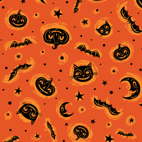 Faces of Halloween  fabric by johannaparkerdesign on Spoonflower - custom fabric