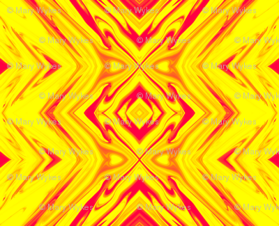 Yellow and Red Geometric Pillars of Fire