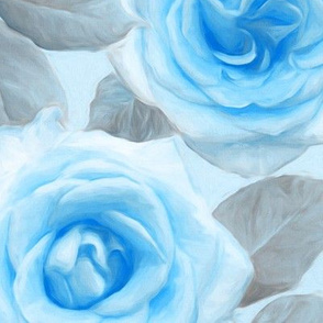 Over sized Painted Roses in Blue & Grey