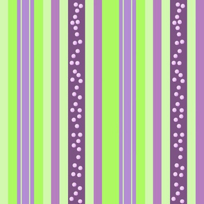 FNB2 - Large Fizz-n-Bubble Stripes in Lime Green and Purple  - Lengthwise