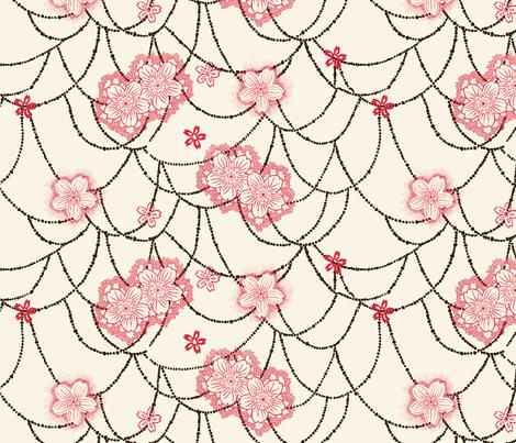 Sakura cream fabric by the_window_way on Spoonflower - custom fabric