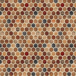 Sepia Ink - Watercolor Hexagons tiny print