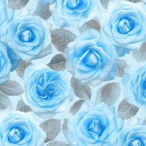 Medium Painted Roses in Blue & Grey