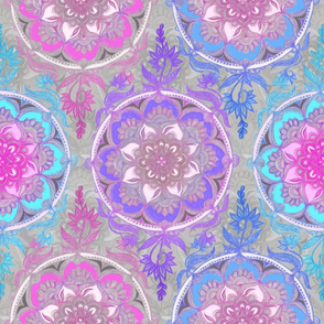 Pink, Purple and Turquoise Super Boho Doodle Medallions