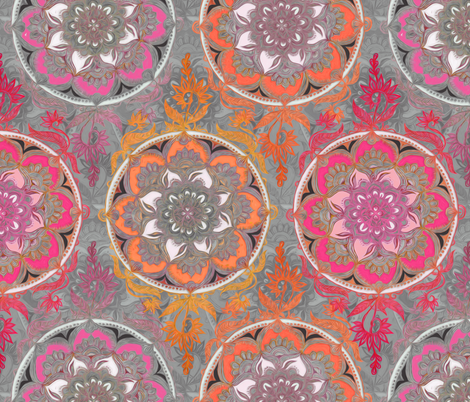 Hot Pink, Magenta and Orange Super Boho Doodle Medallions fabric by micklyn on Spoonflower - custom fabric