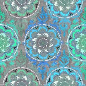 Mint Green, Blue & Aqua Super Boho Doodle Medallions