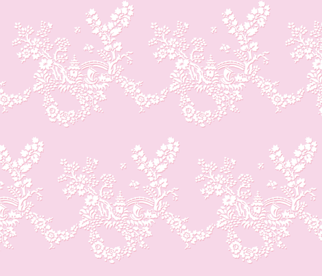 Miao Miao Toile sorbet fabric by lilyoake on Spoonflower - custom fabric