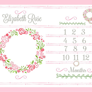 Growth Chart 54 - Shabby Chic Wreath - Petal PERSONALIZED Elizabeth Rose