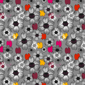 Fleurettes fond gris