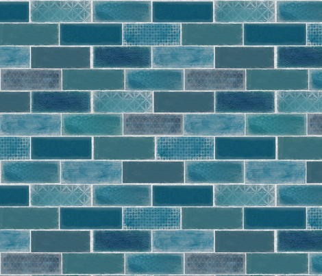 Mini Tile in Blue fabric by tillyfromnowhere on Spoonflower - custom fabric