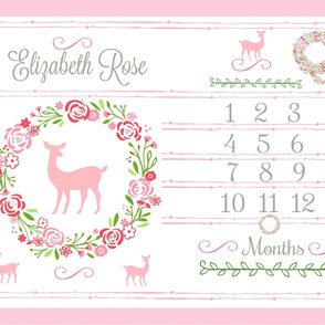 Growth Chart 54 Shabby Chic Petal Deer PERSONALIZED Elizabeth Rose