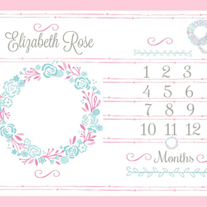 Growth Chart 54 shabby chic wreath mint pink  PERSONALIZED Elizabeth Rose