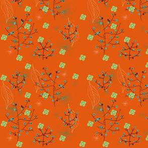 motif japonisant fond orange