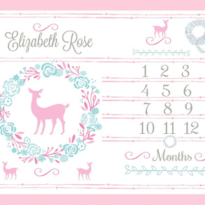 Growth chart 54-shabby chic wreath deer mint pink pink deer PERSONALIZED Elizabeth Rose