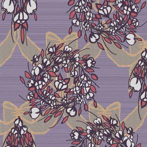 Cotton Wreath and bow, cross grain, purple