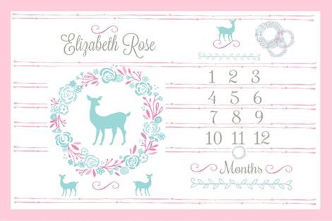 Growth Chart 54 Deer Pink Mint Mint Deer Personalized Elizabeth