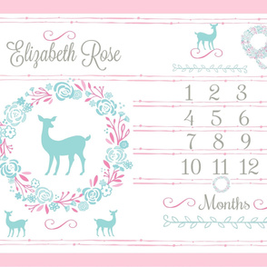 Growth Chart 54 deer pink mint- mint deer PERSONALIZED Elizabeth Rose