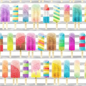 Summer Popsicles on Grey Stripe