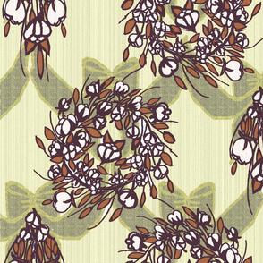 Cotton Wreath  Burlap Bow -natural wood bk