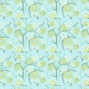 motif fleurs blanches et arbres bleu clair