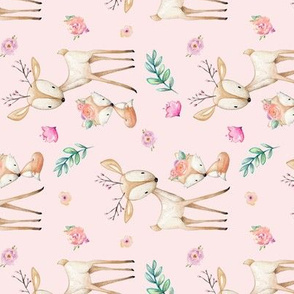 Pink Sweet Deer & Fox ROTATED - Pink Flowers Woodland Animals Baby Girl Nursery Bedding