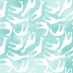 Little White Giraffes on Watercolor Aqua Blue Sky