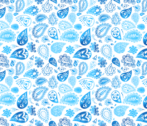 paisley watercolor blue fabric by lapinecurieuse on Spoonflower - custom fabric