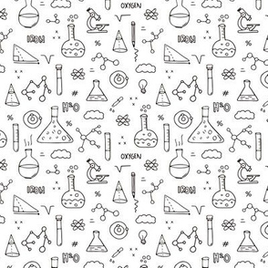 Cool back to school science physics and math class student illustration black and white SMALL