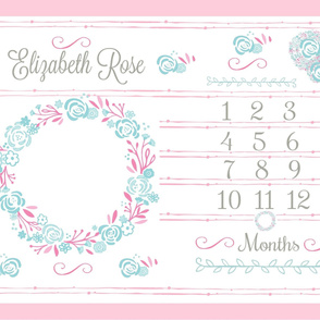 Growth chart rose bliss 54  pink mint PERSONALIZED Elizabeth Rose