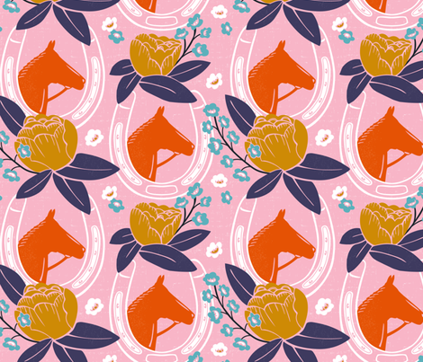 Derby Girl - Pink  fabric by heatherdutton on Spoonflower - custom fabric