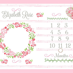 Growth chart rose bliss 54-  petal PERSONALIZED Elizabeth Rose