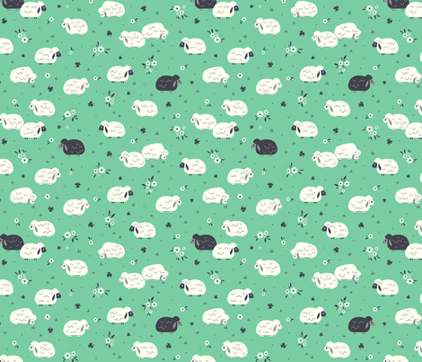 Sheep & Clovers fabric by therewillbecute on Spoonflower - custom fabric