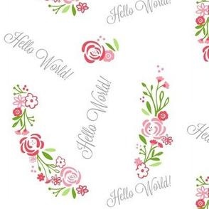 hello world shabby chic rose bliss 7 -petal